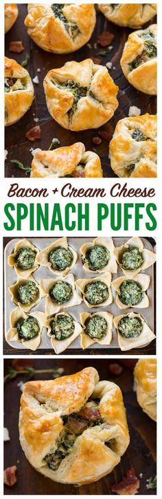 These Spinach Puffs are the ultimate easy, DELICIOUS appetizer! Buttery squares of puff pastry, filled with cream cheese, spinach, feta, and bacon, then baked to perfection. Easy to make ahead and everyone loves them! #appetizers #puffpastry #easy #makeahead