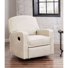ABBYSON LIVING Olivia Grey Linen Swivel Glider Recliner