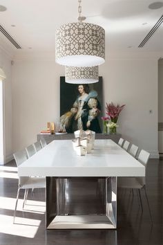 Contemporary dining room by Massimo Interiors, via Houzz. What an excellent use of an Anthony van Dyck reproduction!