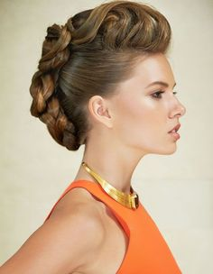 Braided quiff up style