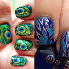 Pretty nails. Peacock theme