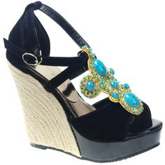 Black Leather Boho Wedge Special Occasion Pageant Cocktail Party Sandals Shoes  SKU-1090363