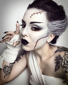 Disfarces Halloween, Cute Halloween Makeup, Scary Halloween Costumes, Halloween Outfits, Bride Of Frankenstein Costume, Comic Con Costumes, Halloween Disfraces, Psychobilly Style, Brainstorm