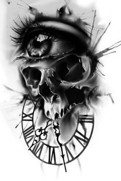 Eye tattoo skull death 68 Ideas - Eye tattoo skull death 68 Ideas You are in the right place about Eye tattoo skull death - Clock Tattoo Design, Skull Tattoo Design, Tattoo Sleeve Designs, Skull Tattoos, Rose Tattoos, Body Art Tattoos, Tattoo Drawings, Sleeve Tattoos, Skull Design