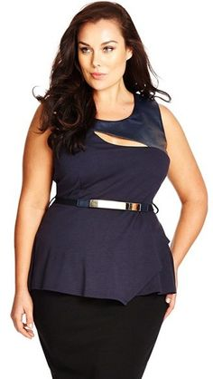 Plus Size Faux Leather Yoke Peplum Top