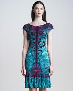 Dragon-Print Ruffle-Hem Dress by Roberto Cavalli at Neiman Marcus.