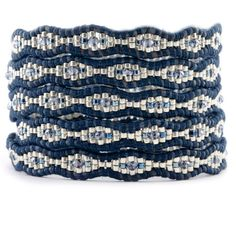 Blue Mix Wrap Bracelet on Natural Dark Blue Leather chan luu