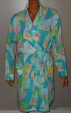 SOLD!! Vtg Lilly Pulitzer Green Pink Cotton Robe Cover up Flamingo Beach Post Card S/M #LillyPulitzer #Gowns #SummerBeach
