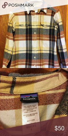 Patagonia Fjord Flannel Patagonia Fjord Flannel. Women's size 6. Colors are white, navy blue, tan, and rust red. I love the shirt but it's a bit too big. Very thick and cozy flannel. Patagonia Tops Button Down Shirts