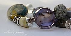 'who by fire' cold worked lampwork/sterling bracelet by Deborah JLambson [cal]