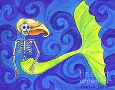 Sirena Catrina a Dia de los Muertos Sugar Skull Calaveras Mermaid Painting