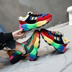 [leggycozy] Women's Colorful Rainbow Vulcanized Casual Chunky Sneakers Kawaii Shoes, Chunky Sneakers, Sneakers For Sale, Color Lines, Toe Shape, Color Mixing, Sneakers Fashion, Casual Shoes, High Heels
