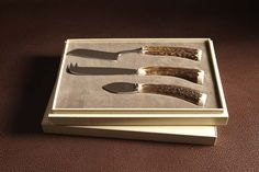 Cheese knife set with stag antler handles