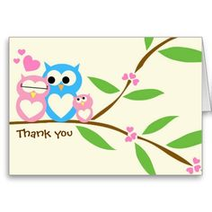 Baby Girl Owl Thank You Note Card! Make your own foldedcards more personal to celebrate the arrival of a new baby. Just add your photos and words to this great design.