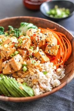 Tofu is anything but boring in this delicious, flavour-packed Thai Peanut Tofu Buddha Bowl. It's dairy-free, gluten-free, vegan and loaded with fresh vegetables for a healthy, satiating lunch or dinner. Whole Food Recipes, Dinner Recipes, Cooking Recipes, Vegetarian Recipes, Healthy Recipes, Tofu Recipes, Curry Recipes, Healthy Snacks, Clean Eating