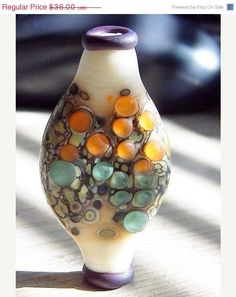 Sale Speckled Urn Handmade Lampwork Focal Dotted by CabariBeads, $28.80