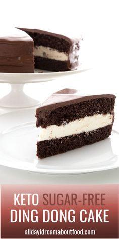 The Famous Keto Ding Dong Cake This amazing low carb chocolate cake has a creamy filling and a sugar-free chocolate glaze. Just like the Ding Dongs you used to love as a kid, but now keto friendly! Low Carb Sweets, Low Carb Desserts, Healthy Dessert Recipes, Low Carb Recipes, Picnic Recipes, Coconut Recipes, Health Desserts, Delicious Desserts, Cake Recipes