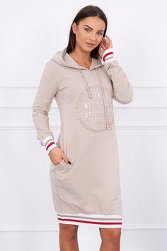 Dámske športové mikinové šaty s kapucňou a potlačou vpredu v béžovej farbe Cold Shoulder Dress, Brooklyn, Sports, Clothes, Dresses, Products, Fashion, Fashion Styles, Tunic