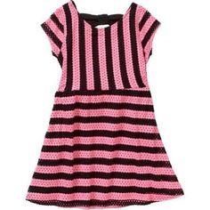 Sweet Vintage Girls' Knit Mesh Striped Dress, Size: 6, Pink