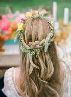 half up half down braided wedding hairstyles with floral crown