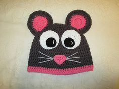 Miss Mouse Crocheted Hat  Photo Prop  Available in by BusterBrowns, $13.50