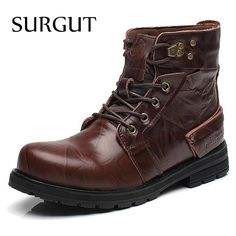 We love it and we know you also love it as well SURGUT Brand Waterproof Winter Warm Snow Boots Men Cow Split Leather Motorcycle Ankle Fashion High Cut Male Casual Clearance just only $42.36 with free shipping worldwide  #menshoes Plese click on picture to see our special price for you
