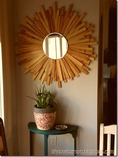 Diy sunburst mirror using shims.