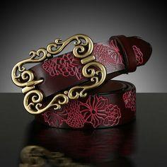 Leather carved belt Antique