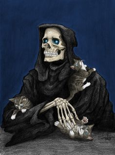 """Terry Pratchett's """"Death"""" is my FAVORITE characterized version of death. Also """"Grim"""" from """"Grim Adventures of Billy and Mandy"""" is pretty cool. Terry Pratchett Death, Terry Pratchett Discworld, Discworld Characters, The Grim, Grim Reaper, Animal Paintings, Face Paintings, Deviantart, Werewolf"""