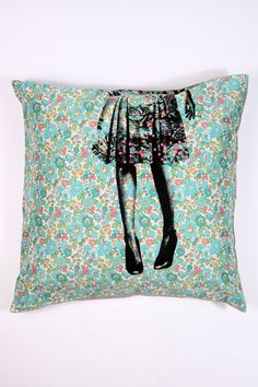 Screen print over print fabric - great idea!  This cushion in Liberty fabric + print is wonderful! By La Cerise Sur Le Gateau.