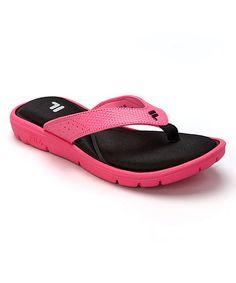 Another great find on #zulily! Black & Hot Pink Amazen Memory 4 Flip-Flop #zulilyfinds