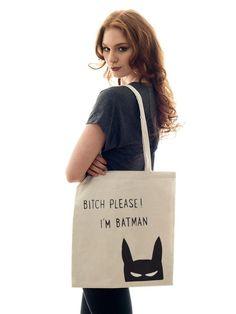 "Jutebeutel ""I am Batman!"" // tote bag by jute Beutel via DaWanda.com"