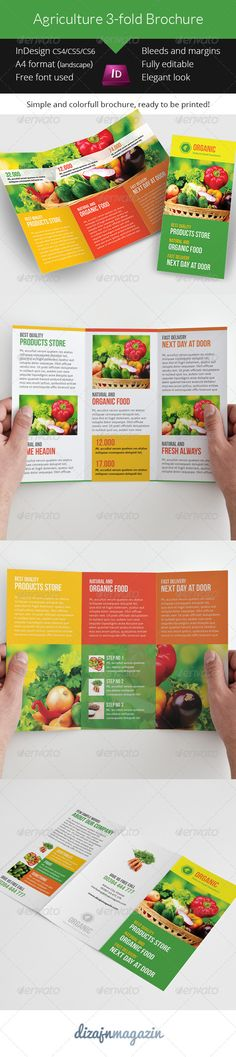 Buy Agriculture / Agronomy Trifold Brochure by vrbic on GraphicRiver. Agriculture / Agronomy Trifold Brochure InDesign Template This is clean and colorfull Agriculture / Agronomy Trifold . 3 Fold Brochure, Brochure Food, Brochure Cover, Business Brochure, Brochure Design, Brochure Template, Flyer Design, Layout Design, Indesign Templates