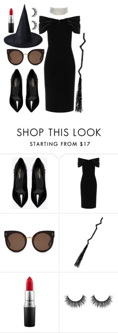 """witchy witch"" by charlottealejo ❤ liked on Polyvore featuring Yves Saint Laurent, Emilio De La Morena, STELLA McCARTNEY, MAC Cosmetics, Marina J., Halloween, witch, halloweencostume and Halloweenparty"