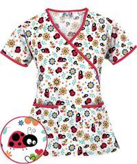Style # WT668GPW: UA Scrubs Garden Party White Print Mock Wrap Top