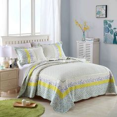 CHAUSUB Washed Cotton Quilt Set 3PCS Floral Printed Quilts Quilted Bedspread Bed Cover bed sheets Shams Coverlet Set Bedding