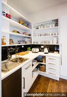 Kitchen wet bar microwave sink mini fridge wine rack for Minimalist pantry design