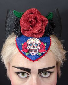 skulls and roses day of the dead headpiece. by twinklybits on Etsy, $180.00