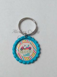 This Is How I Roll Key Chain, Golf, Golf Key Chain, Golf Cart, Tee Time, Key Chain, Key Ring, Bottle Cap Key Chain, Bottle Cap Key Ring by AleshasBottleCaps on Etsy