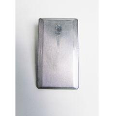 Vintage Cigarette Case holder in silver metal, card case, engine turned art deco design, Har Bro England British, mad men, smoker, by EbyVintage on Etsy