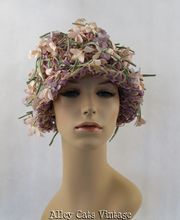 Vintage 1960s 60s Hat Cloche Long Stems with Pink Flowers on a Lilac Knit Base by Mr John Jr Sz 21