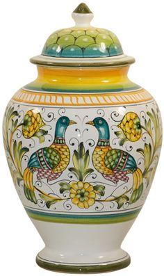 Italian Ceramic Centerpiece Urn - Lovers Peacocks - Beautiful!!