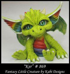 Fantasy Rainbow Dragon DollHouse Art Doll Polymer Clay CDHM OOAK IADR Ker mini #KabiDesigns