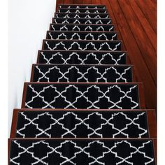 """Shop SUSSEXHOME Trellisville Collection Stair Treads Polypropylene 9""""x28"""" - On Sale - Overstock - 31045220 - Brown - 13-PACK Carpet Stair Treads, Carpet Stairs, Stair Mats, Black Stairs, Old World Charm, Mold And Mildew, Online Home Decor Stores, Animals For Kids, Modern Contemporary"""