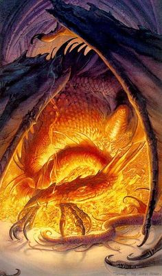 John Howe's version of Smaug. its fascinating how the gold is always the thing creating the light in Smaug artwork, never the fire breathing dragon.