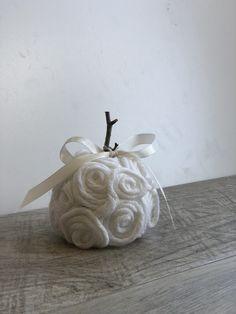 Elegant Yarn Fall Pumpkin with Satin Bow- DIY · Just That Perfect Piece Diy Pumpkin, Pumpkin Crafts, Fall Crafts, Diy Crafts, Holiday Crafts, Holiday Decor, Fabric Pumpkins, Fall Pumpkins, Elegant Fall Decor