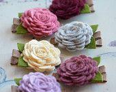 Wool Felt Flower Hair Clip You Choose Color