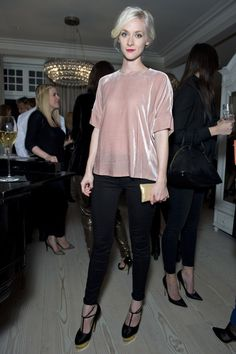 Portia Freeman poses in the J BRAND Daisy Bouse at our Spring 2014 Press Preview in #London.