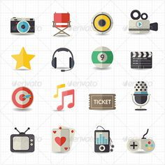 Entertainment Movie Icons #design Download: http://graphicriver.net/item/entertainment-movie-icons/7809706?ref=ksioks