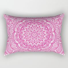 "Our Rectangular Pillow is the ultimate decorative accent to any room. Made from 100% spun polyester poplin fabric, these ""lumbar"" pillows feature a double-sided print Pink Magenta Detailed Ethnic Eclectic Mandala Mandalas mandala mandalas mandela mandelas pattern ethnic old world print detailed sketch pencil chalk graphite textured drawn pink magenta purple rose minimal minimalistic minimalism minimalist girl girly trend trendy trending modern mandala-pattern college"